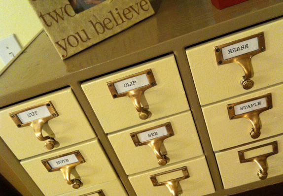 Antique Card Catalog Reveal with A LittleClaireification.com #antiques #restoration