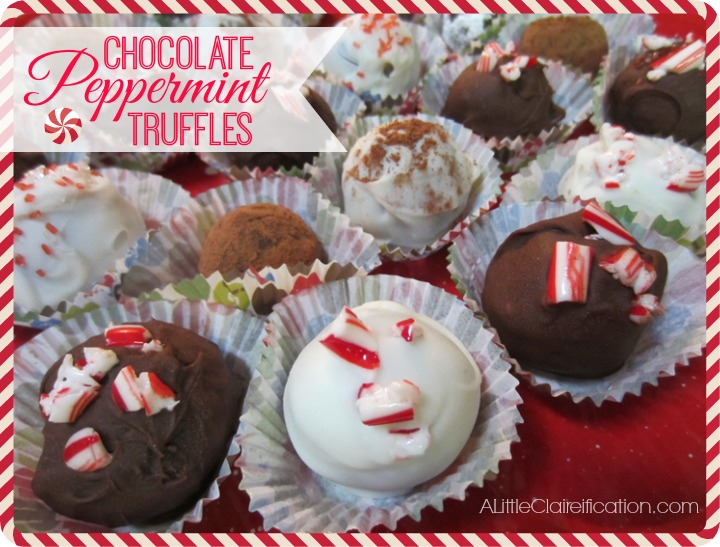 Easy Chocolate Peppermint Truffles at ALittleClaireification.com #Christmas # Desserts