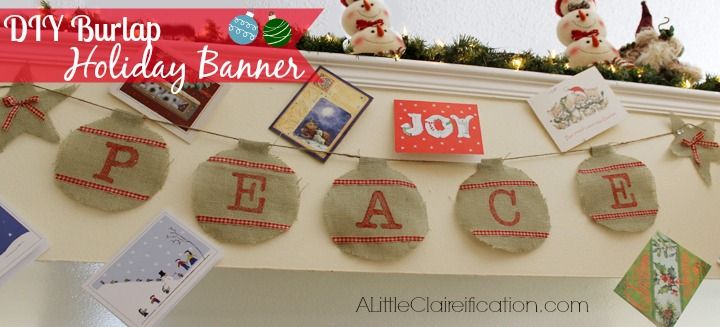 DIY Ornament Holiday Banner at ALittleClaireification.com #Holidays #Crafts #DIY