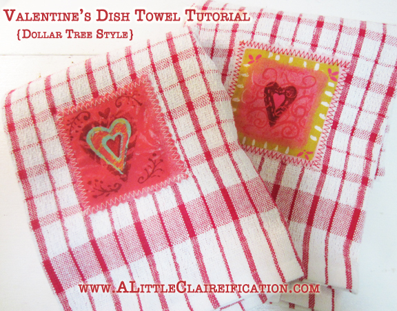 DIY Dollar Store Valentine's Dish Towels - Valentine Crafts at ALittleClaireification.com #valentine #valentines #craft