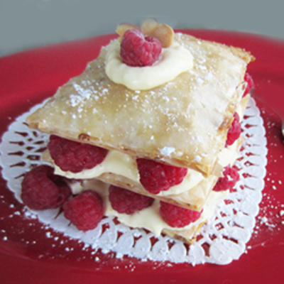 Honey Almond Fillo Tart w/ Raspberries & Custard