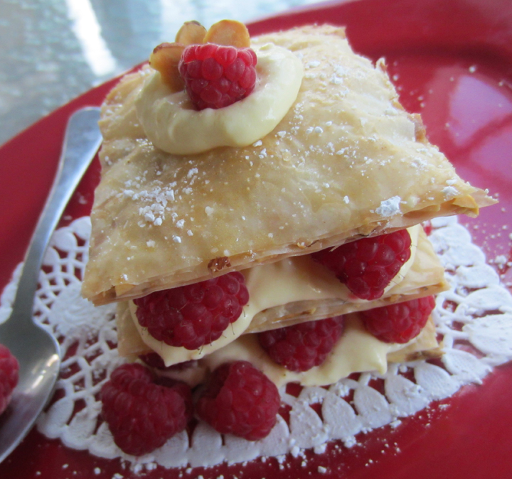 Honey Almond Fillo Tart with Raspberries & Custard at ALittleClaireification.com #food #tart #recipe #phyllo