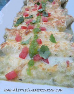 Low Calorie Enchiladas Verdes by ALittleClaireification.com
