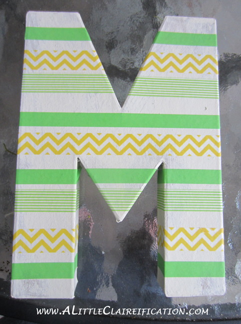 DIY Washi Tape Monogram Wall Art at ALittleClaireification.com #DIY #Crafts