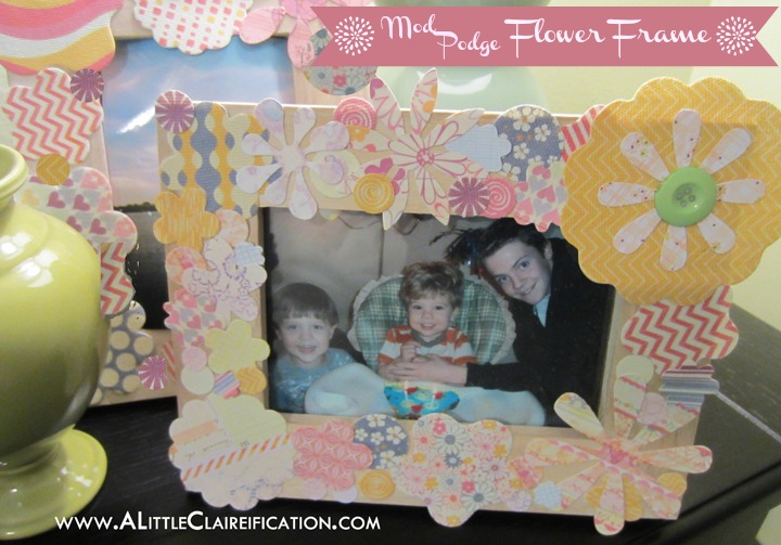 Mod Podge Flower Frame with ALittleClaireification.com #Crafts #DIY #modpodge
