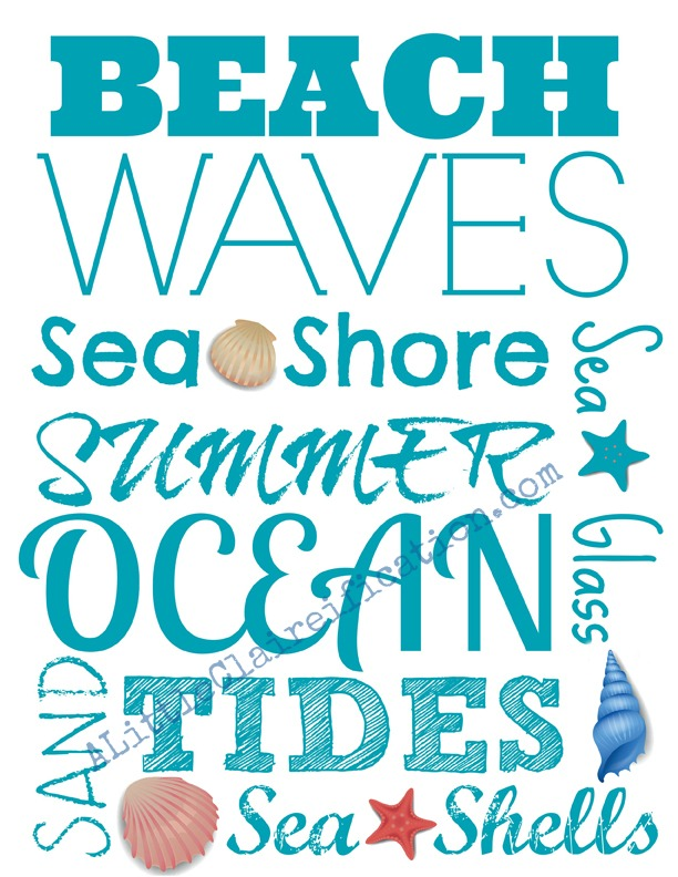 Free Beach Printable by A Little Claireification #beach #seashells