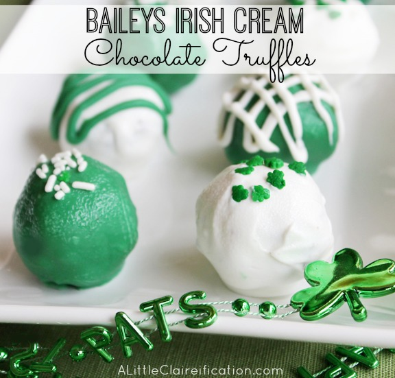 Baileys Irish Cream Chocolate Truffles - A Perfect St. Patrick's Day Dessert at ALittleClaireification.com #recipe #StPatricks #Desserts #12bloggers
