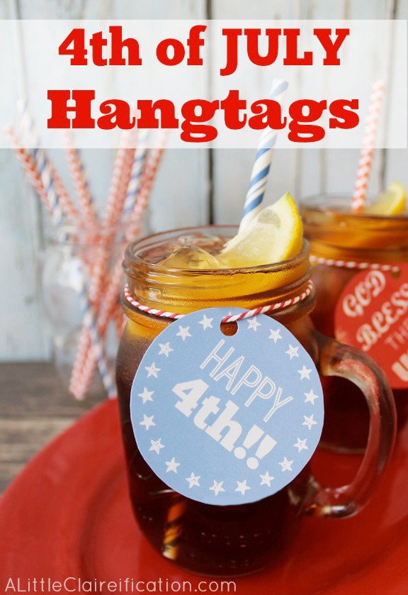 Free 4th of July Hangtag Printables by ALittleClaireification.com #crafts