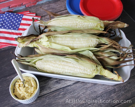 Grilled Corn With Honey Mustard Butter at ALittleClaireification #recipe #4thOfJuly