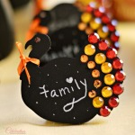 Jeweled Chalkboard Turkeys | Little Miss Celebration