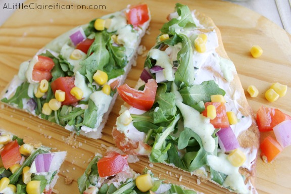 Fresh Veggie Flatbread with Cilantro Lime Dressing - So easy to make and a great healthy choice for the New Year!