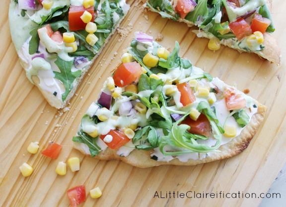 Fresh Veggie Flatbread with Cilantro Lime Dressing