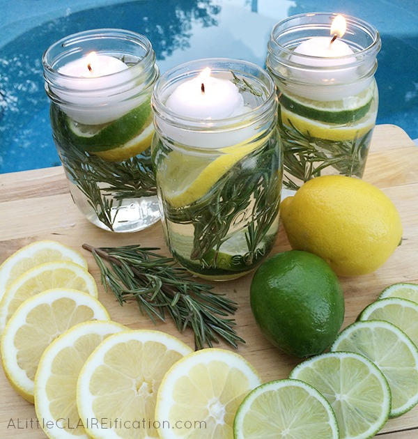 Summer Mason Jar Luminaries - These are not only easy and beautiful they are also a chemical free DIY Bug Repellent!