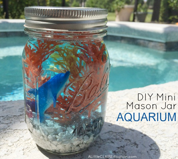 DIY Mini Mason Jar Aquariums are perfect for ocean themed parties or beach weddings. Such a fun craft for kids too!