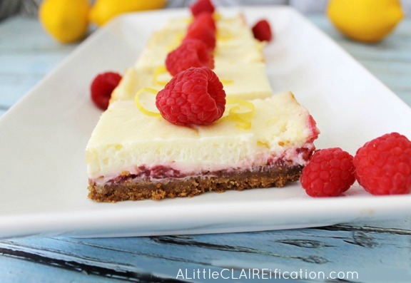 Lemon Raspberry Cheesecake-Bars - Tangy and sweet these are a perfect spring dessert