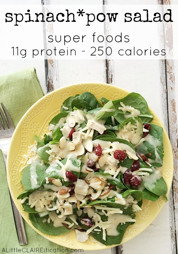 Spinach Pow elevAte Salad - 11 grams of protein and only 250 calories makes this one of my favorite organic super foods for lunch