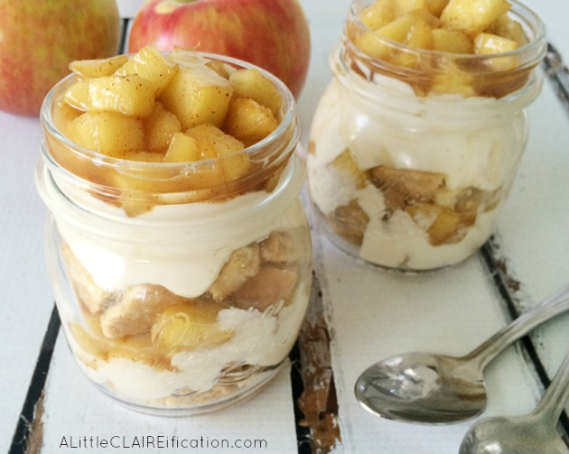 Hot Caramel Apple Pie Parfait - Only FIVE Ingredients and perfect for Memorial Day or July 4th!