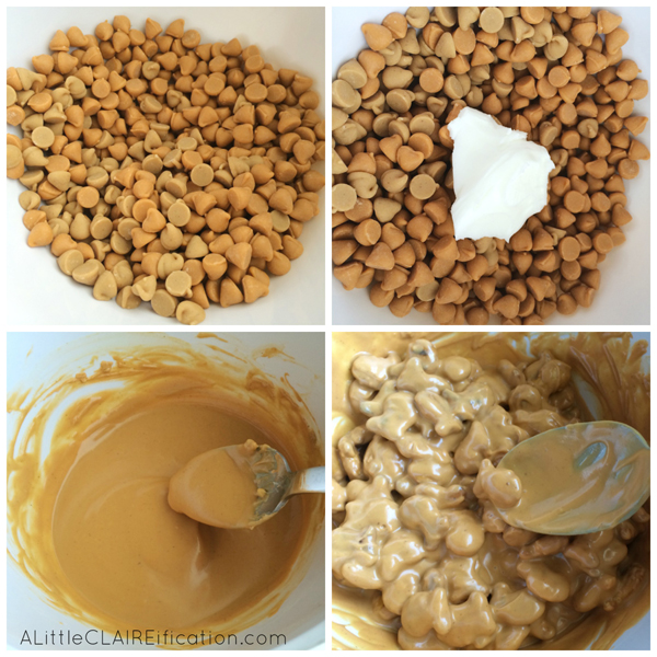 No Bake Butterscotch Pretzel Clusters - with only five minutes prep these fun sweet and salty treats are ready to serve in about 20 minutes!