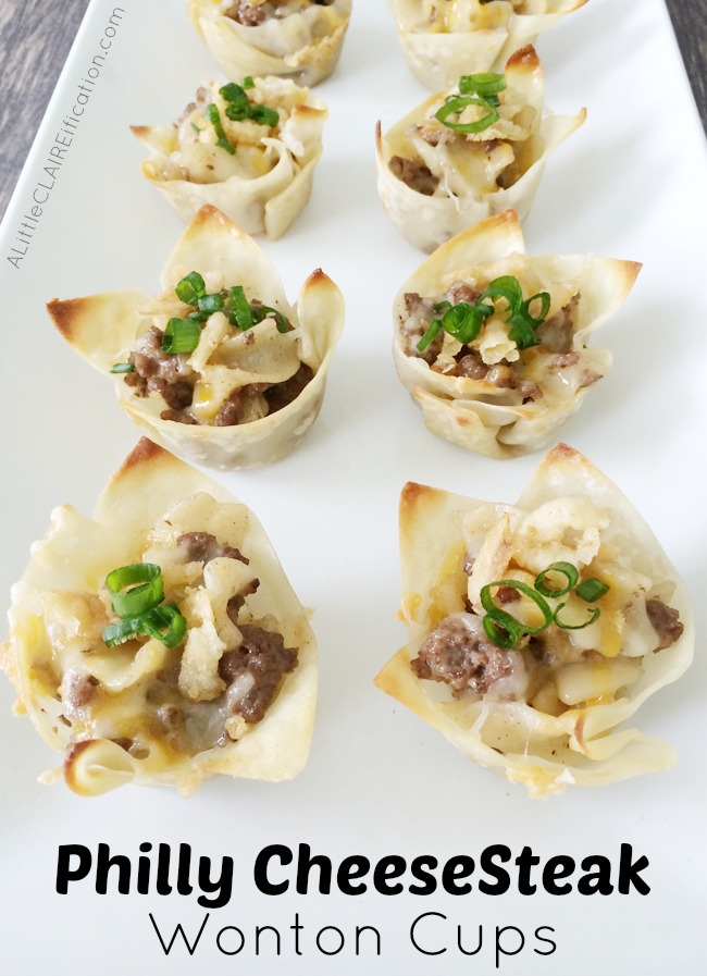 Philly Cheesesteak Wonton Cups - an easy dinner, appetizer or party snack!