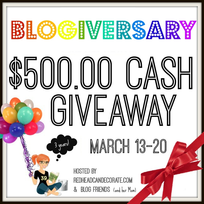 Redhead Can Decorate 3 Year Blog Anniversary $500 Giveaway