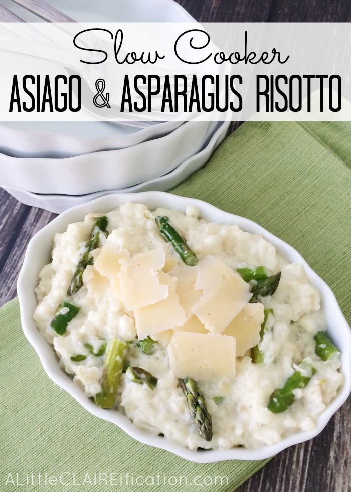 Slow Cooker Asiago and Asparagus Risotto - this creamy and delicious dish takes only 5 minutes prep.