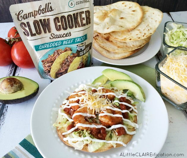 Easy Slow Cooker Shrimp Tostadas - delicious and on the table in 30 minutes with the help of your crockpot!