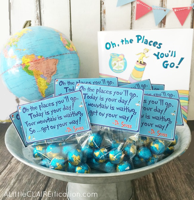 """Oh The Places You'll Go"" - Free Graduation Printable Treat Bag Toppers make for a fun touch at a graduation party!"