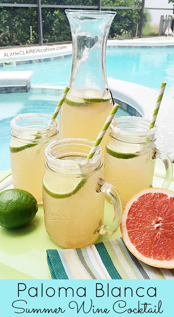 Delicious Paloma Blanca Summer Wine Cocktail - a delicious blend of crisp white wine, pink grapefruit juice and sparkling soda. Perfect for summer entertaining!