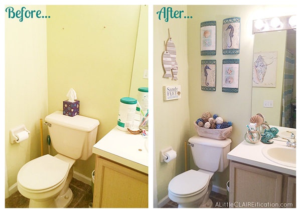 Beach Themed Bathroom | A Small Space Makeover Before And After