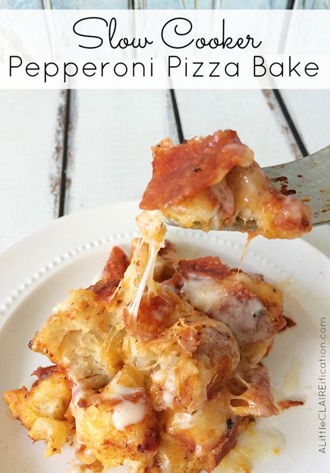 Slow Cooker Pepperoni Pizza Bake - an easy crockpot recipe inspired by one of our favorites - 7