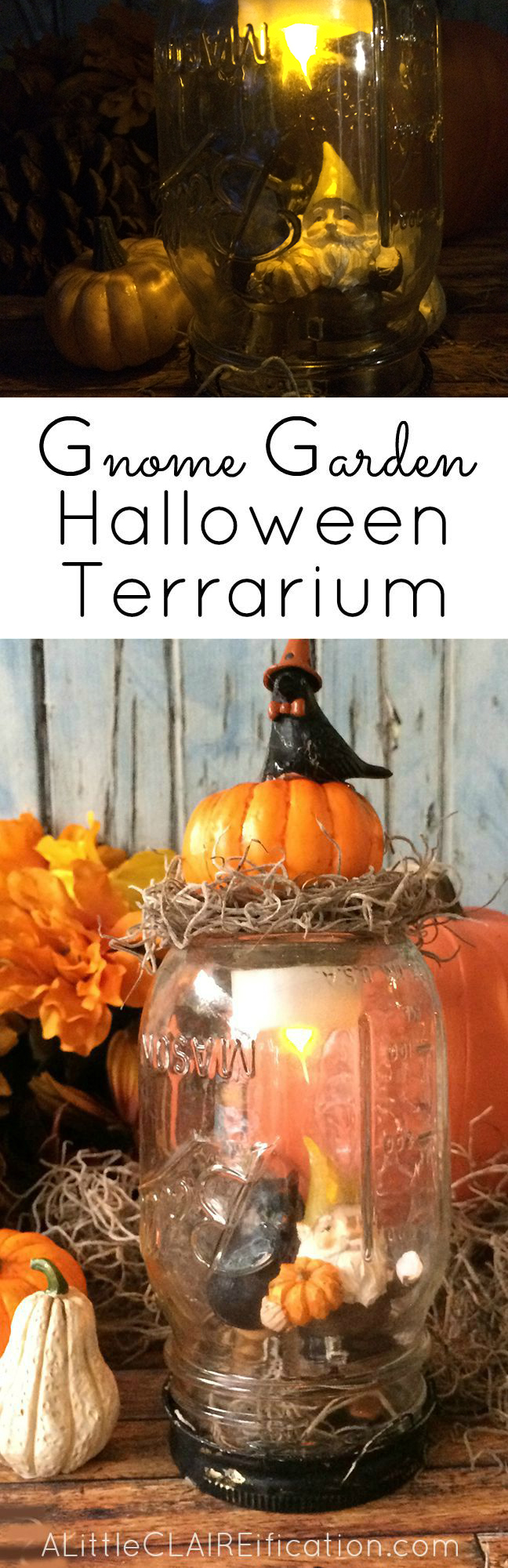 Gnome Garden Halloween Terrarium - An easy Halloween craft and the kids can help too!