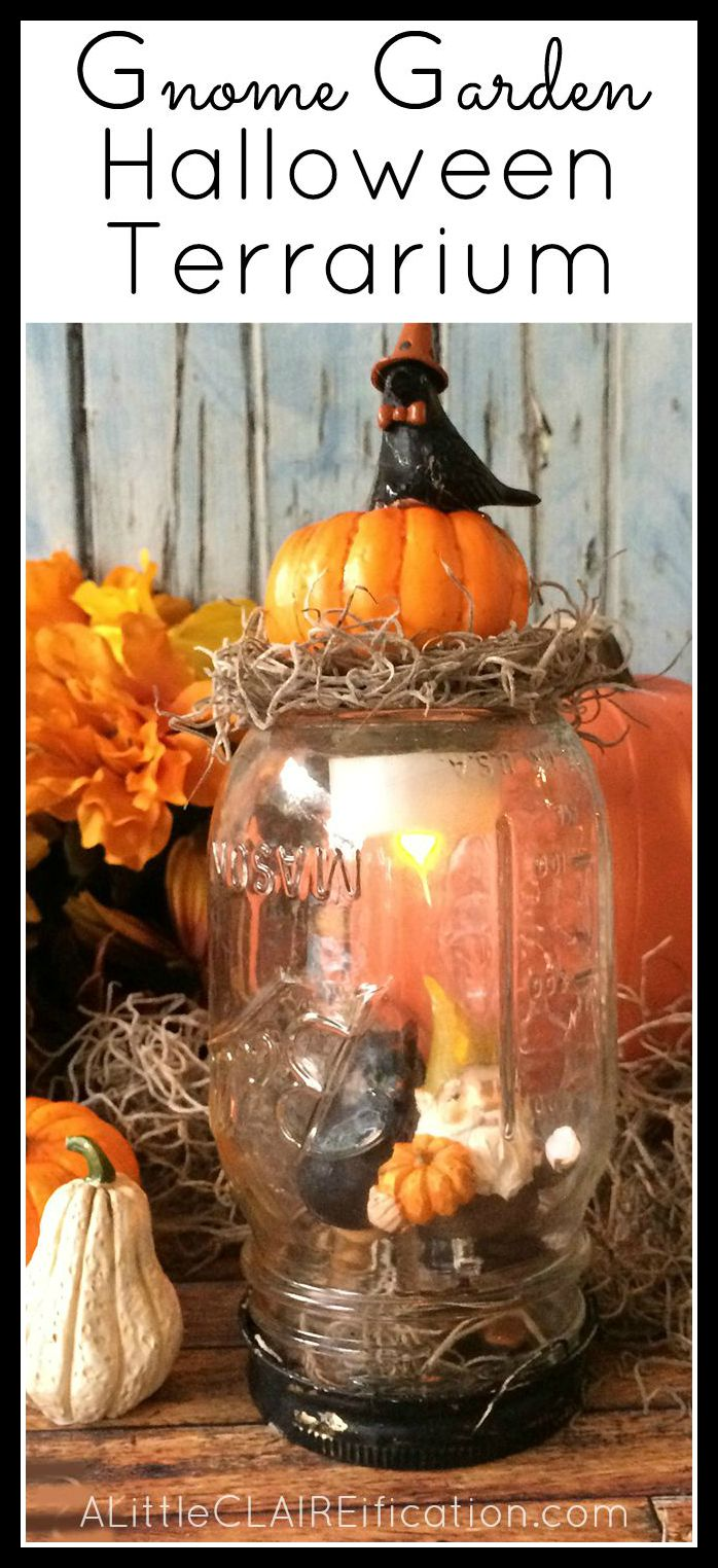 gnome garden halloween terrarium an easy halloween craft and the kids can help too