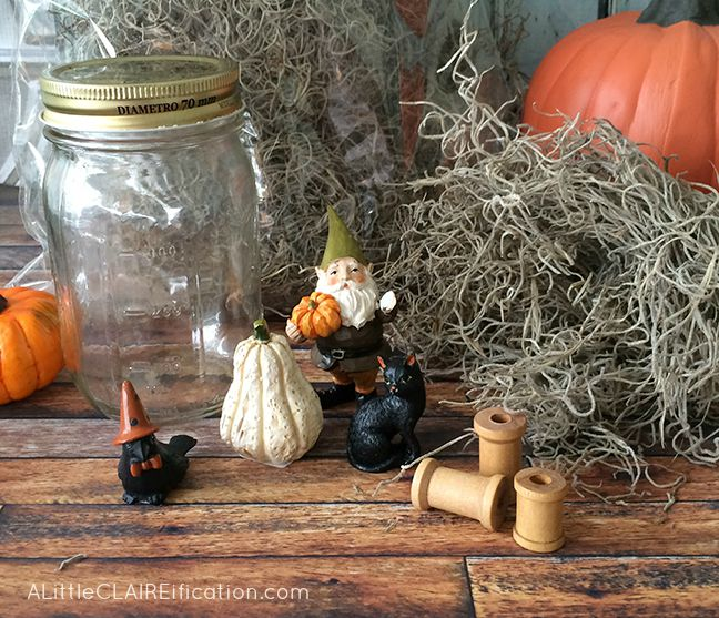 Gnome Garden Halloween Terrarium - Supplies for an easy Halloween craft!
