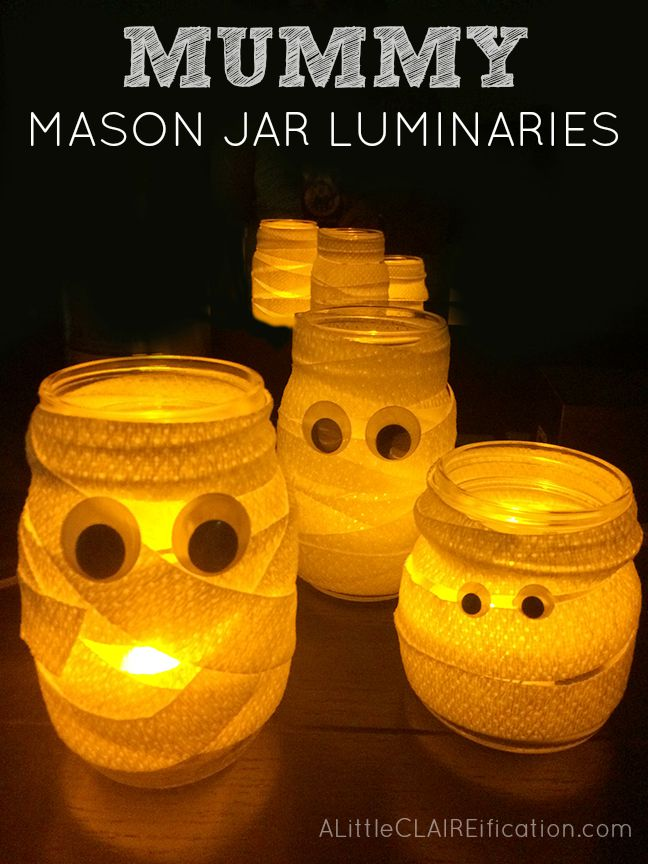 Mummy Mason Jar Luminaries - Cutest and Easiest Halloween Crafts Ever and they make fun candy jars too!