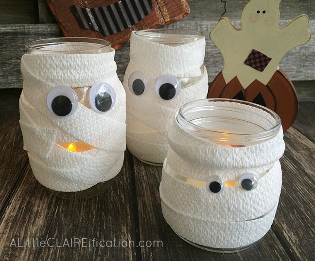 mummy mason jar luminaries cutest and easiest halloween crafts ever - Halloween Mummy Crafts