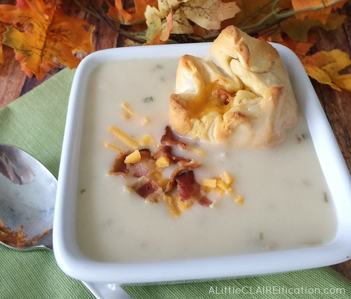 Cheddar Bacon Biscuit Poppers and Potato Bacon Soup