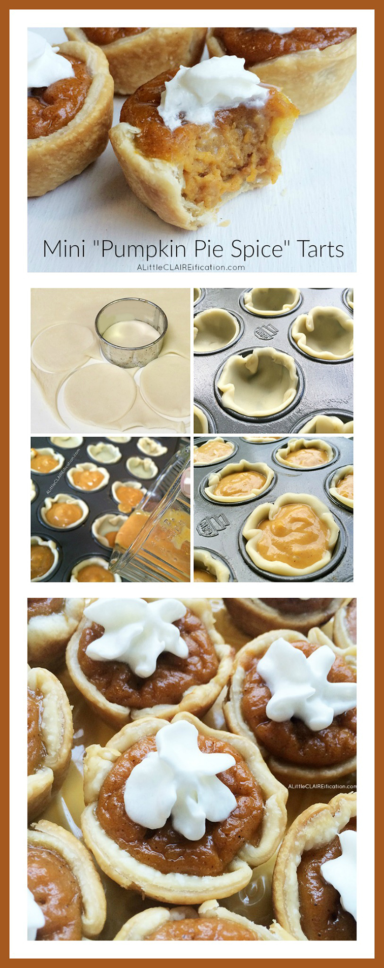 Mini Pumpkin Pie Spice Tarts  - The easiest little tarts you'll ever make.  Blend, pour, bake.