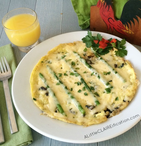 Asparagus and Mushroom Omelet With Gouda Cheese