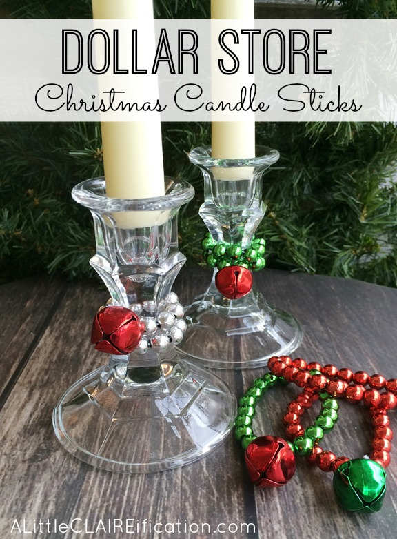 dollar store christmas candle sticks easy and inexpensive ways to decorate for the holidays - 99 Cent Store Christmas Decorations