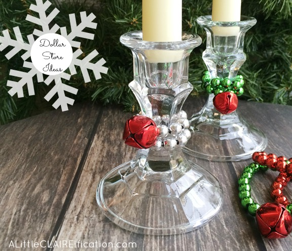 Easy Dollar Store Christmas Candle Sticks