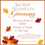Celebrating TWO Blogiversaries With A $500 Giveaway!!