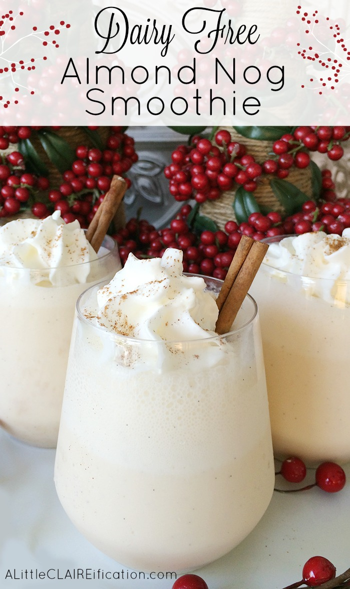 Dairy Free Almond Nog Smoothie - a perfect holiday treat for anyone and especially those who might be lactose intolerant!!