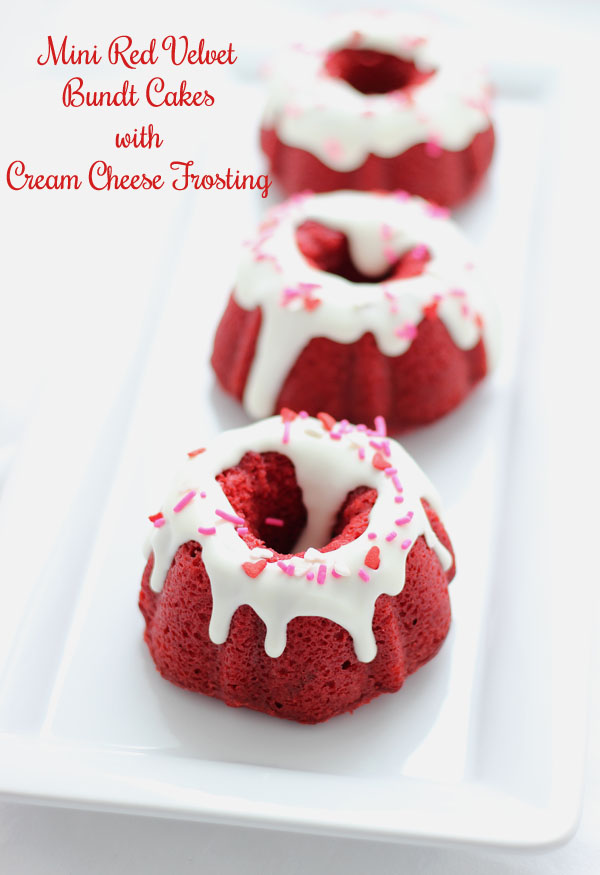Mini Red Velvet Bundt Cakes & More at A LittleClaireification..com #linky #party #crafts