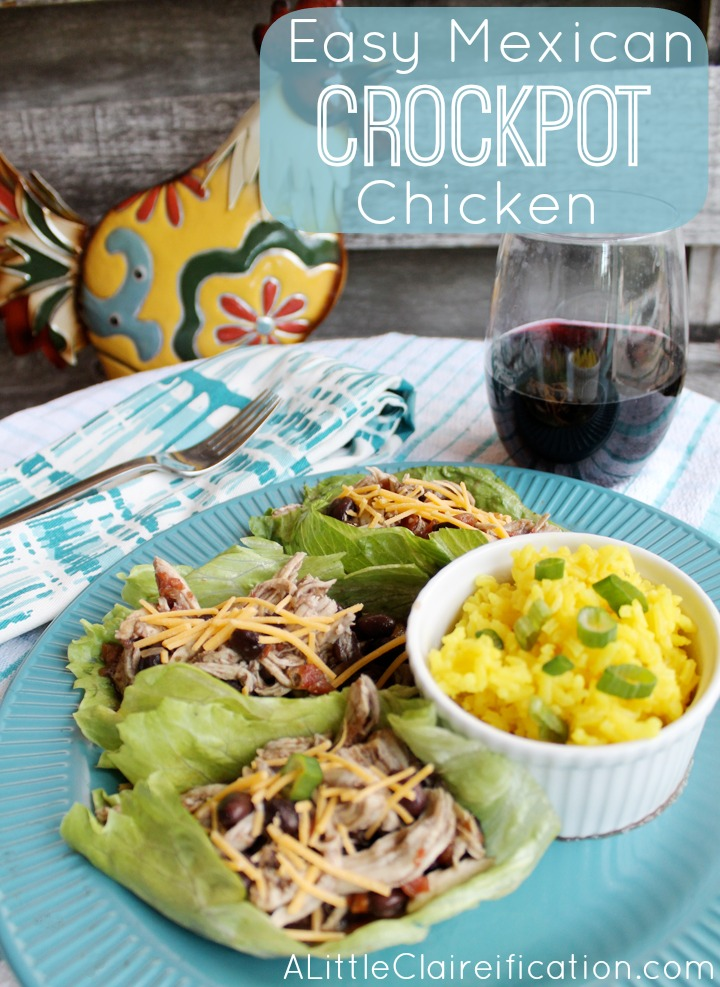 Easy Crockpot Mexican Chicken & Healthy Lettuce Wraps