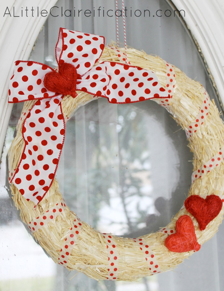 DIY Easy Valentine Wreath - A Crafty Fail?? with ALittleClaireification.com #crafts #DIY #Valentines