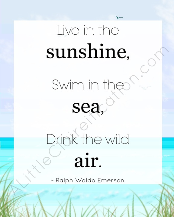 Drink The Wild Air  - My favorite Emerson Quote; Free Printable at ALittleClaireification.com #Free #Printables