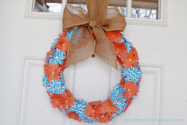 Spring Paper Flower Wreath featured at ALittleClaireification.com #recipe #party #linky #crafts #DIY