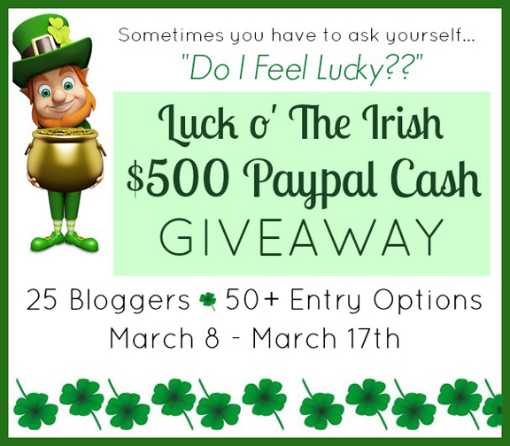 $500 Luck O' The Irish Giveaway at ALittleClaireification.com #StPatricksDay #Crafts #Recipes