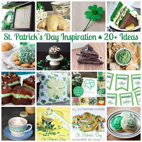 20+ St. Patricks Day Ideas at ALittleClaireification.com #StPatricksDay #Crafts #Recipes