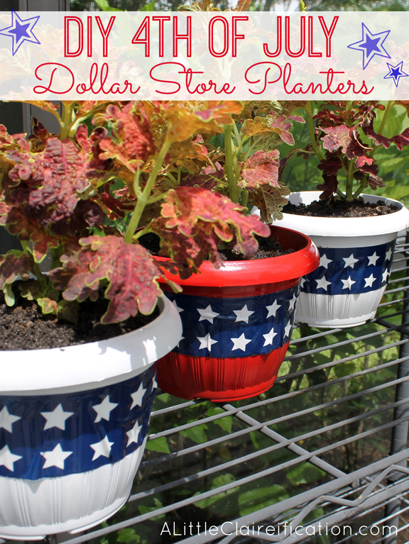 DIY 4th Of July Planters | Dollar Store Crafts at ALittleClaireification.com